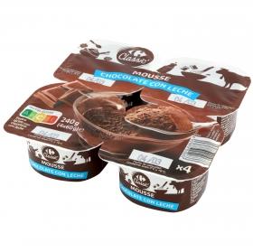 Mousse de chocolete con leche Carrefour pack de 4 unidades de 60 g.