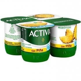 Yogur bífidus desnatado con piña Danone - Activia pack de 4 unidades de 125 g.