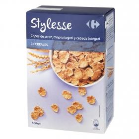Copos de arroz, trigo integral u cebada integral Stylesse Carrefour 500 g.