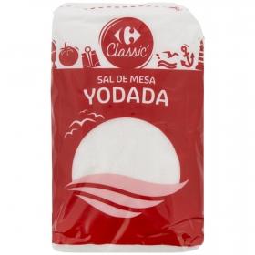 Sal marina yodada fina Carrefour 1 kg.