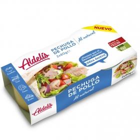 Pechuga de pollo al natural Aldelís pack 2 unidades de 80 g.