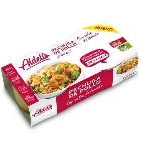 Pechuga de pollo con tomate Aldelís pack 2 unidades de 80 g.