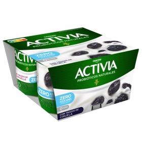 Yogur bífidus desnatado con ciruelas Danone - Activia pack de 4 unidades de 125 g.