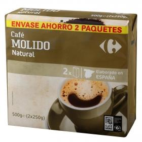 Café molido natural Carrefour pack de 2 unidades de 250 g.