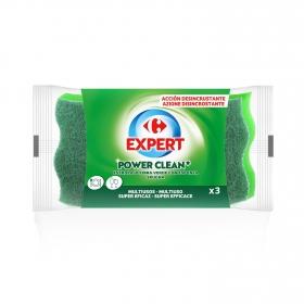 3 Estropajos con esponja  Carrefou  - Verde