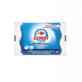 2 Estropajos con esponja  Carrefour - Azul