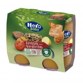 Tarrito de lentejas con verduritas desde 8 meses Hero Baby pack de 2 unidades de 190 g.