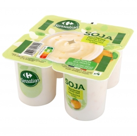 Postre de soja sabor mandarina y lima Carrefour pack de 4 unidades de 100 g.