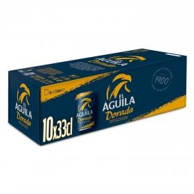 Cerveza El Aguila pack de 10 latas de 33 cl.