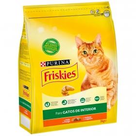 Purina Friskies Pienso para Gato Control Bolas de Pelo Gato de Interior Pollo y Verduras 3Kg