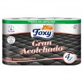 Papel higiénico 4 capas Gran Acolchado Foxy 6 rollos.