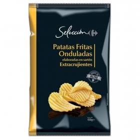 Patatas fritas onduladas en aceite de oliva  Carrefour Selección 150 g.