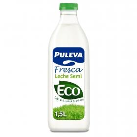 Leche semidesnatada fresca ecológica Puleva botella 1,5 l.