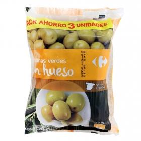 Aceitunas verdes con hueso Carrefour pack de 3 unidades de 100 g.