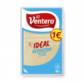 Queso tierno bajo en sal en lonchas El Ventero sin gluten 80 g.