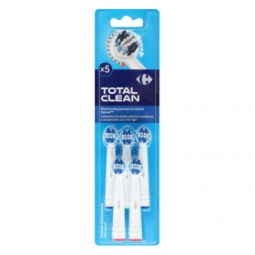 Recambio cepillo dental eléctrico Total Clean Carrefour 5 ud.