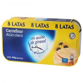 Atún claro en aceite de girasol Carrefour pack de 8 latas de 52 g.