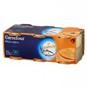 Atún claro en escabeche Carrefour pack de 6 latas de 52 g.