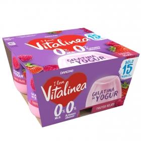 Gelatina de yogur sabor frutos rojos sin azúcar añadido Vitalinea pack de 4 unidades de 120 g.