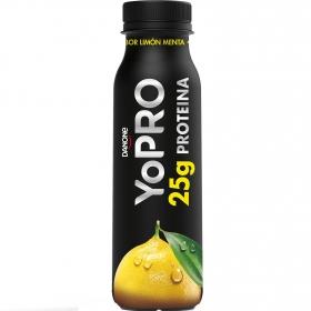 Yogur líquido desnatado sabor limón y menta alto en proteínas Danone YoPRO 300 g.