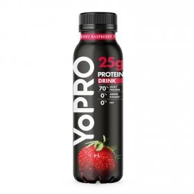 Yogur líquido desnatado sabor fresa y frambuesa alto en proteínas Danone YoPRO sin lactosa 300 g.