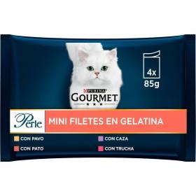 Purina Gourmet Perle Comida Húmeda para Gato Finas Láminas en Gelatina Surtido 4x85g