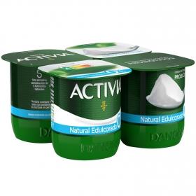 Yogur bífidus desnatado edulcorado natural Danone Activia pack de 4 unidades de 125 g.
