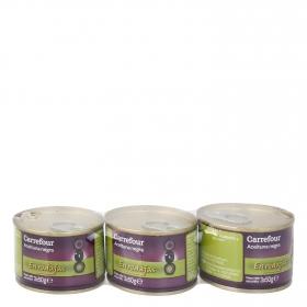 Aceitunas negras en rodajas Carrefour pack de 3 latas de 50 g.