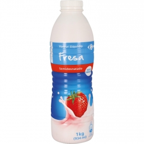 Yogur semidesnatado líquido de fresa Carrefour 1 kg.
