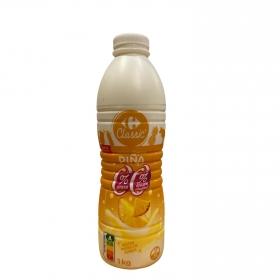 Yogur desnatado líquido de piña sin azúcar añadido con edulcorante Carrefour 1 kg.