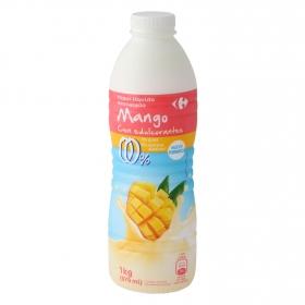 Yogur desnatado líquido de mango sin azúcar añadido con edulcorante Carrefour 1 kg.