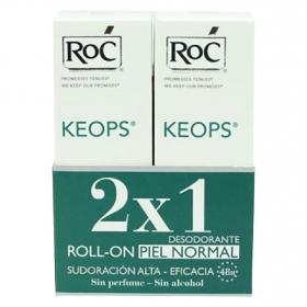 Duplo desodorante Roll-on Keops Roc 60 ml.
