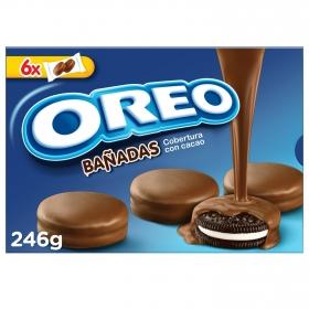 Galletas de chocolate rellenas de crema bañadas de chocolate con leche Oreo 246 g.