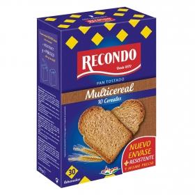 Pan tostado fibra con 10 cereales Recondo 270 g.