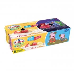 Yogur de fresa y de plátano crecimiento Patrulla Canina Clesa sin gluten pack de 8 unidades de 120 g.