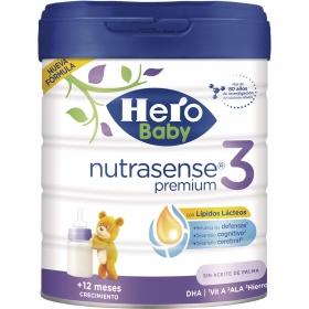 Leche infantil de crecimiento desde 12 meses en polvo Hero Baby Nutrasense premium 3 sin aceite de palma lata 800 g.