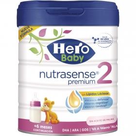 Leche infantil de continuación desde 6 meses en polvo Hero Baby Nutrasense Premium 2 sin aceite de palma lata 800 g.