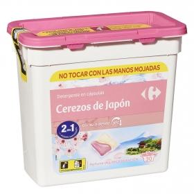 Detergente en cápsulas duo cerezos de Japón Carrefour 30 ud.