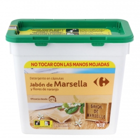 Detergente en cápsulas marsellas y flores de naranjo Carrefour 30 ud.
