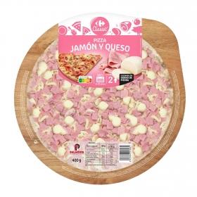 Pizza de jamón y queso Carrefour 400 g.