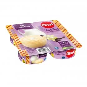 Natillas sabor vainilla Dhul sin gluten sin lactosa pack de 4 unidades de 125 g.