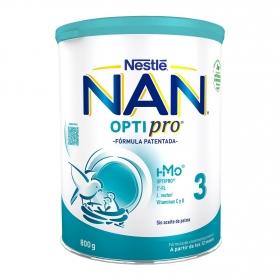 Leche infantil de crecimiento desde los 12 meses en polvo Nan Optipro 3 lata 800 g.
