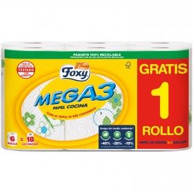 Papel de cocina mega 3 Foxi 6 rollos.