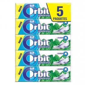 Chicles sabor hierbabuena Orbit 5 paquetes de 5 ud.