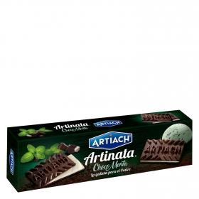 Galletas de barquillo de chocolate rellenas con crema y menta Artiach 210 g.
