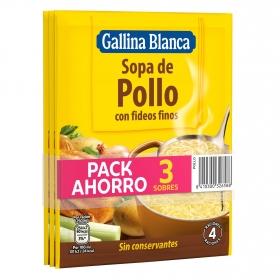 Sopa de pollo con fideos finos Gallina Blanca pack de 3 sobres de 71 g.