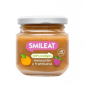 Tarrito de melocotón y frambuesa ecológico Smileat 130 g.
