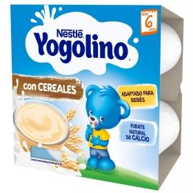 Postre lácteo con cereales desde 6 meses Nestlé Yogolino pack de 4 unidades de 100 g.