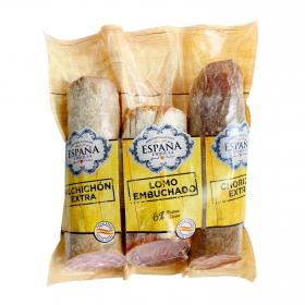 Lote 3 embutidos en piezas: lomo, chorizo y salchichón Embutidos España 1 kg