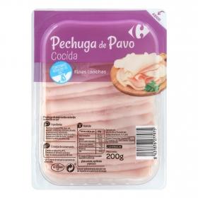 Pechuga de pavo loncha fina reducida en sal Carrefour 200 g